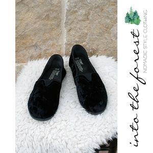Toms Black Crushed Velvet Slip On Shoes Size 10